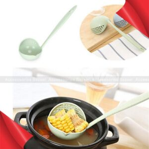 2 In 1 Filter Soup Long Handle Big Spoon Kitchen