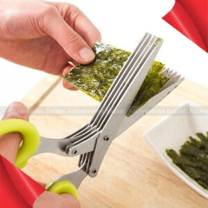 5 Layers Stainless Steel Kitchen Knives Scissors Scallion Cut Herb Spices