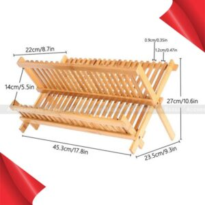 Bamboo Dish Rack Tray Rack Foldable Compact Dish Drying Rack