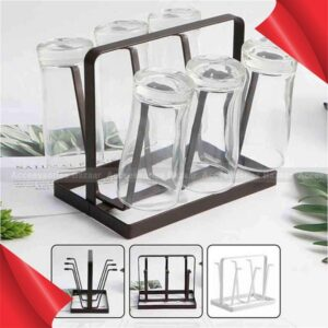 Iron Drain Cup Holder Durable Coffee Mug Rack Glass Cup Hanger Holder