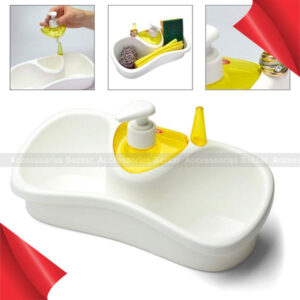 Kitchen Sink Organizer Detergent Dispenser Pump with Sponge Holder