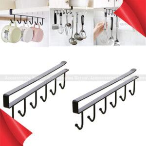 Iron 6 Hooks Cup Holder Hanging Bathroom Hanger Kitchen Organizer