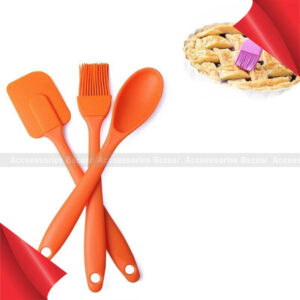 3Pcs Creativity Silicone Spatula Scraper Brush Spoon Kitchen Baking Tools