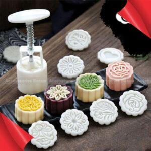 6pcs 3D Flowers Stamps Moon Cake Decor Mould