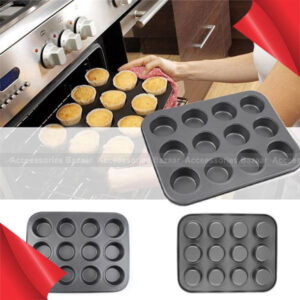 12 Cups Cake Pudding Muffin Bread Metal Non-Stick Baking Mold Tray