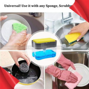 2 in 1 Liquid Soap Dispenser Pump with Sponge Holder