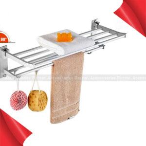 2-Tier Wall Mounted Hotel Bathroom Towel Rack Rail Holder Storage Shelf Towels Wash Cloth
