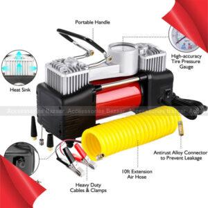 Tire Inflator Twin Cylinder Air Compressor Tire Pressure Gauge Carry Case 12V 280W