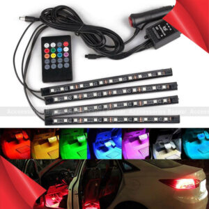 12LED RGB LED Neon Strip Lights Music Remote Control Car Interior