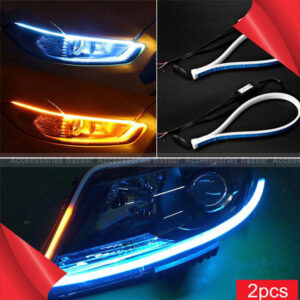2 Pieces Super Slim Strip Tape Lights Waterproof  Car Decoration