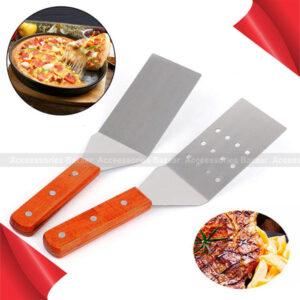 2 pcs Steel Stainless Pizza Cheese Handle Spatula Pancake Shovel Wooden