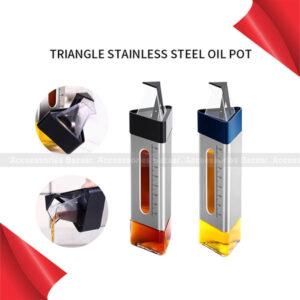 Oil 260ml Refillable Stainless Steel Triangle Seasoning Bottle