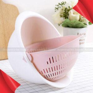 Fruit Vegetable Cleaning Drain Basket Detachable Double Layer Hollow