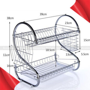 Steel 2 Tier Dish Drying Cutlery Stainless Drainer Drain Silver Tray Rack