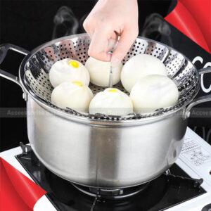 Retractable Stainless Drain Food Steamer Basket Fruit Kitchen Steel Vegetable