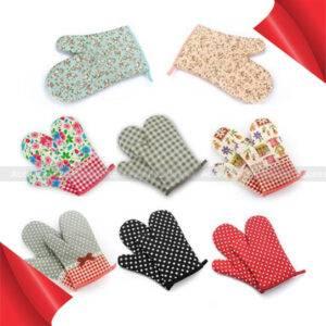 1 Pair Dots Grids Print Oven Mitt Heat Resistant Protector Glove