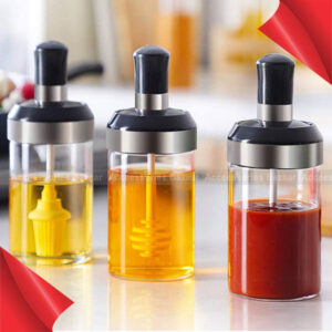3pcs Glass Spice Jars with Spoon with Spoon, Oil Brush, Honey Stick