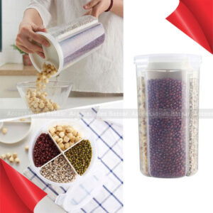 Four Grid Sealed Transparent Plastic Moisture-proof Cans Food Storage Grain Storage Box