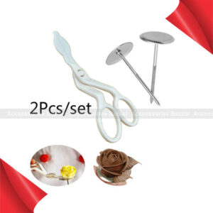 2pcs Cake Decorating Nails Stainless Steel Cake Flower Needle and Plastic Scissor
