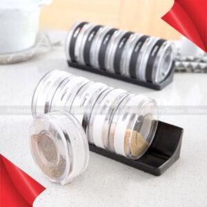 6PC Set Spice Jar Sauce Pot Seasoning Bottle  Wheel Rotation Seasoning