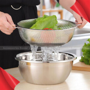 Multifunction Mesh Net Food Rice Strainer Removable Colander Basket Stainless Steel