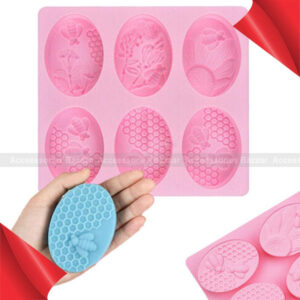 6 Cavities 3D  Silicone Oval Molds Honeycomb Soap Mold Cake Baking Mold