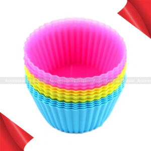 12 Pcs Soft Silicone Round Cake Muffin Chocolate Cupcake Liner Baking Cup Mold