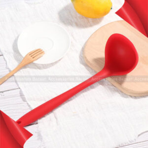 1Pc Silicone Ladle Spoon Heat Resistant Long Handled Soup Spoon