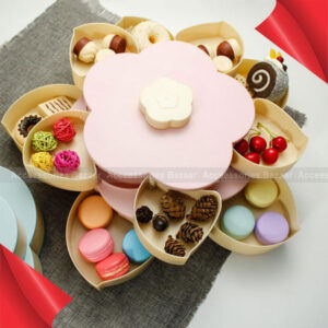 Double Layers Snack Box Candy Plates Petalo-Forma Rotante Snack