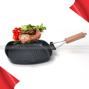 24 Cm Non-sticky Frying Pan with Wooden Folding Portable Square Grill Pan