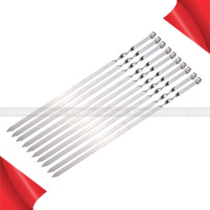 10Pcs 50cm Long BBQ Barbecue Kebab Food Meat Skewers Outdoor Grill Tools
