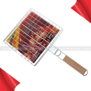 Medium Size BBQ Grill Net Roast Grilling Tray Chromium Plated with Wooden Handle