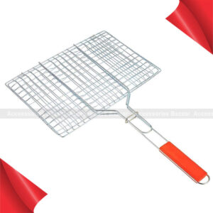 Large Size BBQ Grill Net Roast Grilling Tray Chromium Plated with Wooden Handle