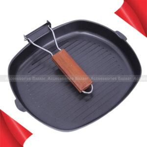 28cm Iron Steak Frying Pan Square Grill Pan Non-stick, Foldable