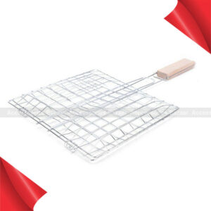 Small Size Barbecue BBQ Grill Net Basket Roast Grilling Tray Chromium Plated with Wooden Handle