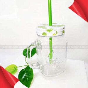 Glass Mason Jar With Straw – 450 ml