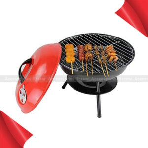 Stainless Steel Round Folding Barbecue Charcoal Portable Red Kettle Trolley