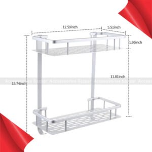 2 Layer Aluminum Steel Bathroom Center Rack Shelf