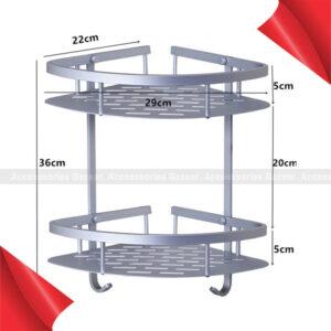 2 Layer Aluminum Steel Bathroom Corner Shelf Rack