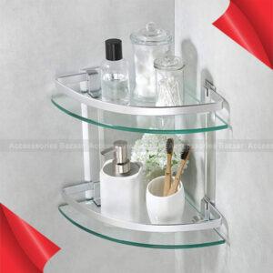 2 layer Aluminum Bathroom Corner Shelf Tempered Glass