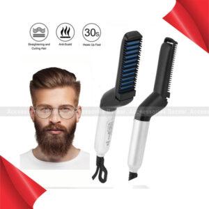 Men Quick Beard Straightener Styler Comb Multi functional Hair Curling Curler