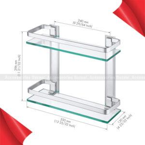 2 layer Aluminum Bathroom Center Shelf Tempered Glass Rectangular