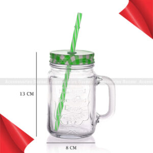 Glass Mason Jars with Handle and Straw, 450ml Green Colour
