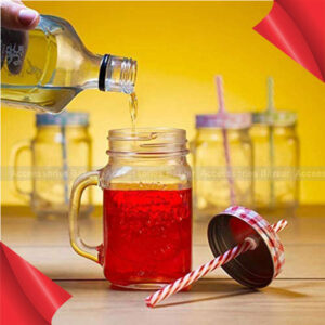 Glass Mason Jars with Handle and Straw, 450ml Pink Colour