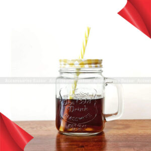 Glass Mason Jars with Handle and Straw, 450ml Yellow Colour