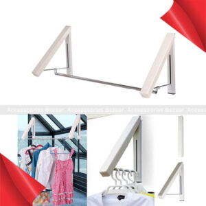 Wall Mountable Hidden Type Dual Clothes Hanger with Drying Rack Stand