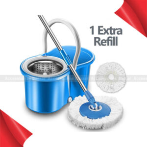 360° Spin Mops Bucket with 2 Heads Replacement Microfiber Spin Rotating